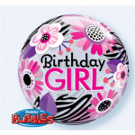 Bubble Birthday Girl Zebra