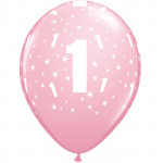 Age 1 Pink Balloons