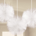 3 White Fluffy Tulle Decs