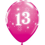 Age 13 Pink Balloons