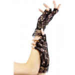 Gloves Fingerless Black Lace