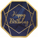Paper Plates Navy & Gold B'day