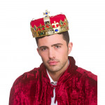 Crown Gold, Red Fabric & Jewel